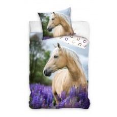 SINGLE DUVET SET 160 X 200 CM ANIMAL WHITE HORSE NL213010