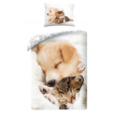 SINGLE DUVET SET 140 X 200 CM ANIMAL CAT AND DOG C-0035BL