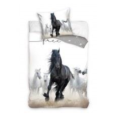 SINGLE DUVET SET 140 X 200 CM ANIMAL HORSE NL201110-PP