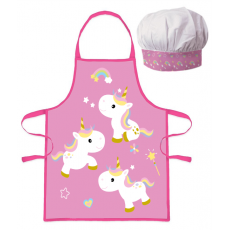 PROTECTIVE APRON WITH CHEF HAT UNIKORNS (020)