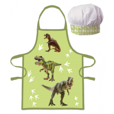 PROTECTIVE APRON WITH CHEF HAT DINOSAURS (026)