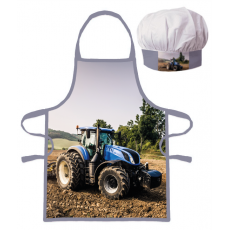 PROTECTIVE APRON WITH CHEF HAT TRACTOR (017)