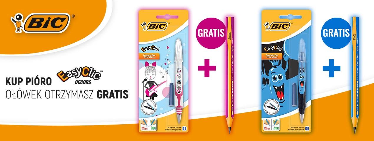 Pióro wieczne BIC Easy Clic Decor + gratisowy ołówek do nauki pisania